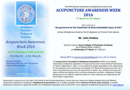 Acupuncture Awareness Week 2016 Launch